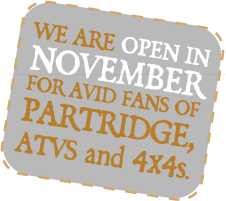 We are open in November for avid fans of partridge, ATVS and 4x4s